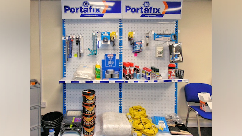 image of stocked rack at Portafix trade counter Andover